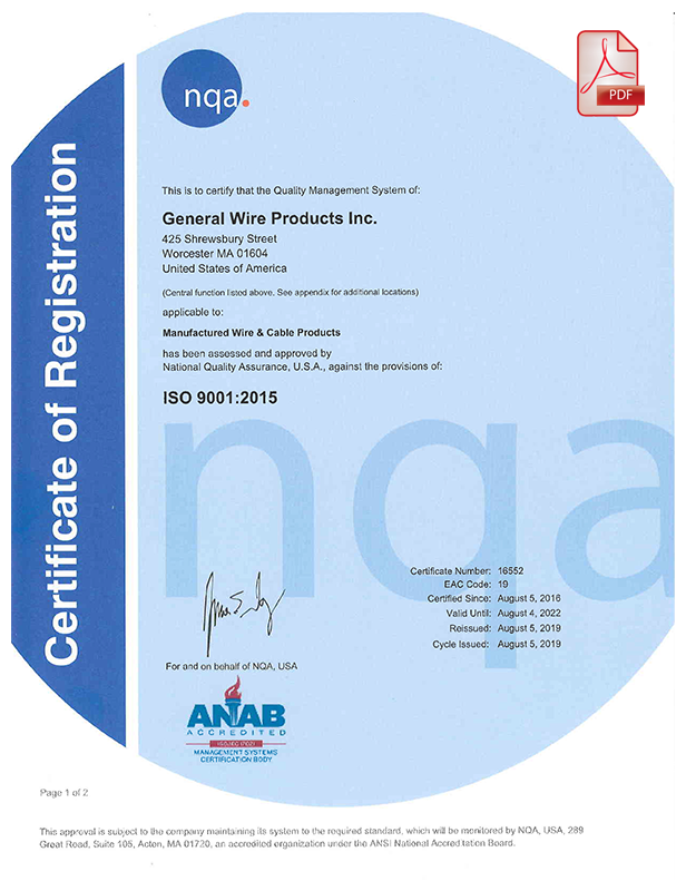 General Wire Products ISO Certification